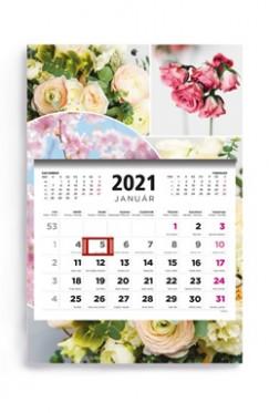 - Virágok - 1 tömbös 3 havi speditőr naptár - 2021